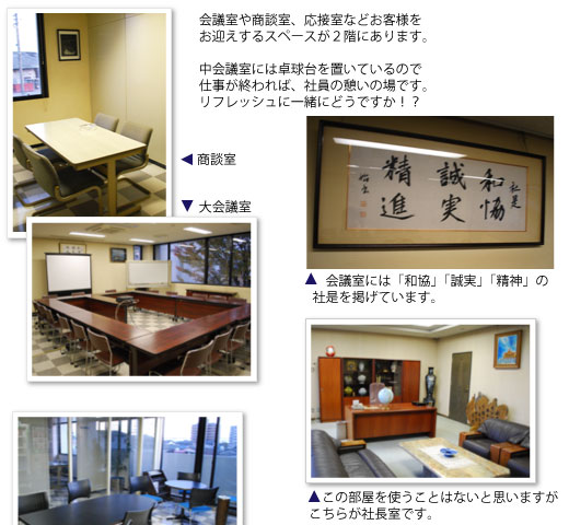 会議室、商談室、応接室、社長室
